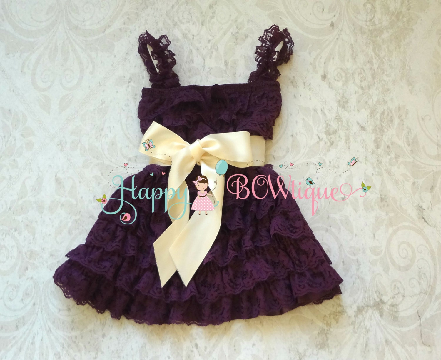 Flower girl dress Purple Ivory Plum Bow Lace by HappyBOWtique