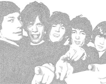 Rolling Stones Lyric Poster Print - 24x36 - Handmade with Lyrics - Charlie Watts - Mick Jagger - Keith Richards - Bill Wyman - Brian Jones