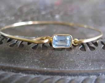 Natural Aquamarine Bangle Bracelet, Gemstone Jewelry, Aquamarine Jewelry, 14k Gold bangle Bracelet, March Birthstone, Aqua Blue Stone, Gift