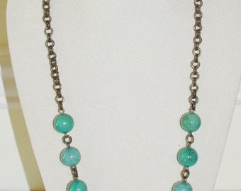 Vintage Chain Necklace with Green Bead 30 Inches   -                   S771