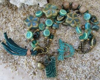 Turquoise Ceramic Beaded Chunky, Bohemain, Gypsy Style Bracelet