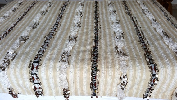 "75""X43"" Moroccan wedding blanket wool  / Moroccan interior design / Handira wedding blanke78"