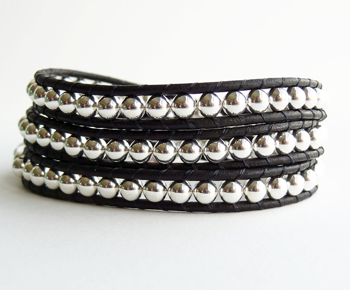 mens leather and silver bracelet black leather by