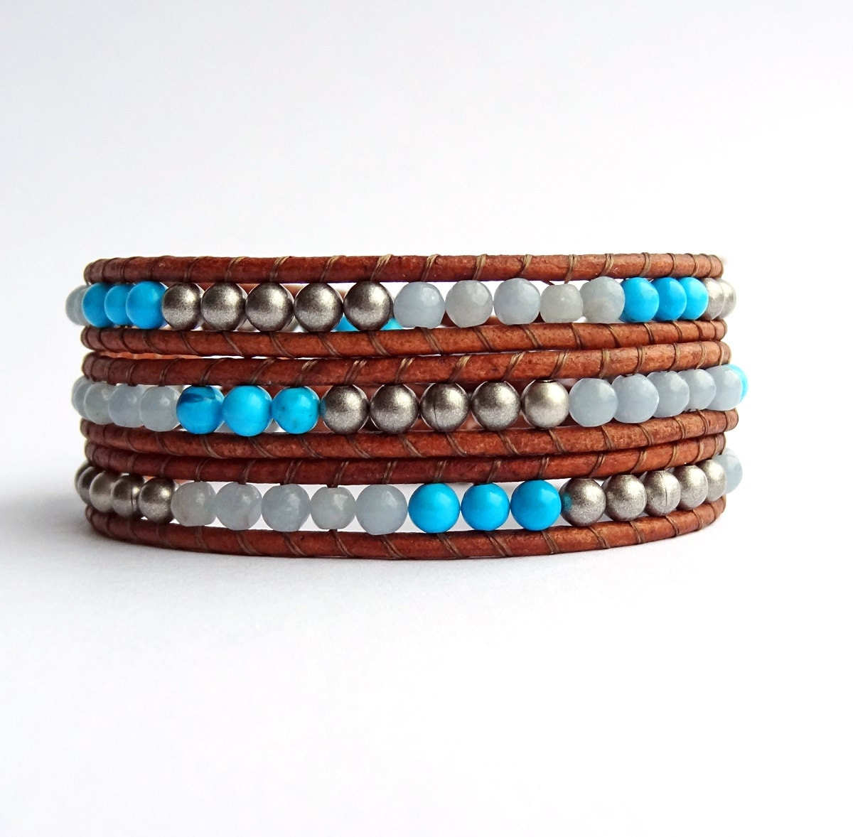 beaded wrap bracelet leather and bead chalk turquoise blue