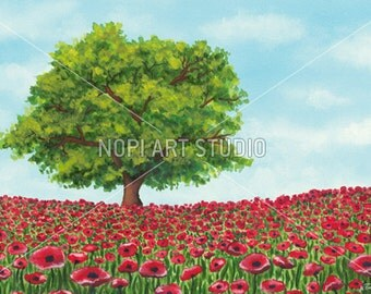 Spring Landscape Watercolor Painting, Red Poppies Field illustration, Digital Instant Download Wall Art, Colorful Countryside Decor Poster