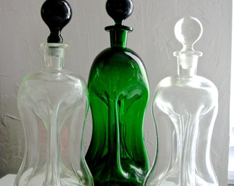 2  Holmegaard Danish Kluk Kluk Decanter Green and Clear