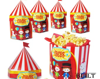 Circus themed party/ Favor Popcorn Boxes / DIY/ Instant Download/ Party Supplies/