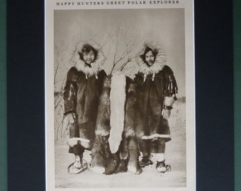 1930s Social History Print, Pair of Eskimo Girls Historical Inuit decor, sepia photography of indigenous Arctic people, Cold Climate Gift