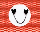 Heart Collar Pins/Sweater Clip - Black/Red