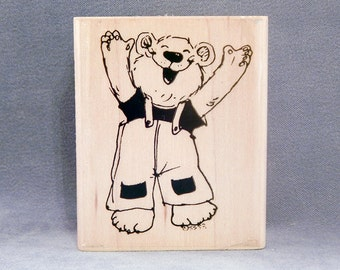Rubber Stamp - Happy Bear - Suzy's Zoo - Handmade Cards - Craft Supplies