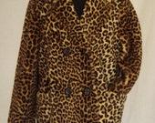 RESERVED COAT SALE 20% / 1960s Coat / Faux Fur Animal Print Leopard Double Breasted Coat / Simba / Fairmoor
