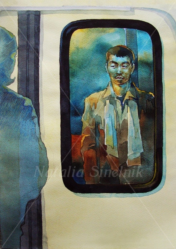 Men into subway waiting for a girl romantic digital download from original watercolor blue and brown unusual illustration