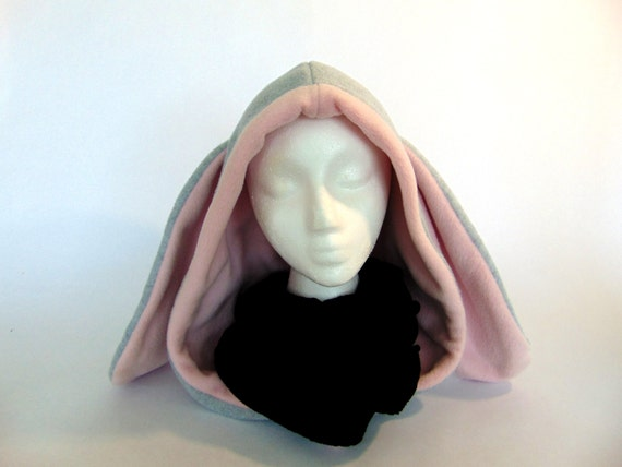 Fleece Bunny Rabbit Hood - Handmade Animal Hat - One Size - MADE TO ORDER