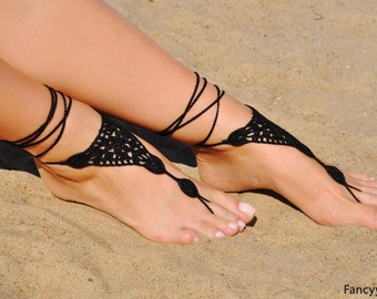 Crochet Black Barefoot Sandals, Foot jewelry, Bridesmaid gift, Barefoot sandles, Beach, Anklet, Wedding shoes, Beach Wedding, Summer shoes