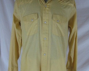 1960s 1970s Round Up Western yellow Pearl Snap Vintage Mens Long Sleeve Shirt