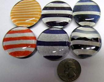 Jumbo Glass Magnets, Colorful Lines and Stripes, Set of 6 - Handmade - Kitchen Decor - Refrigerator Magnets