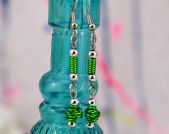 Green Wire Dangle Earrings (WE0006)