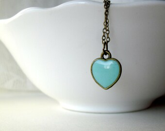 Mint blue heart necklace- Romantic whimsical delicate jewelry- Bridesmaids gift idea- Gift for her