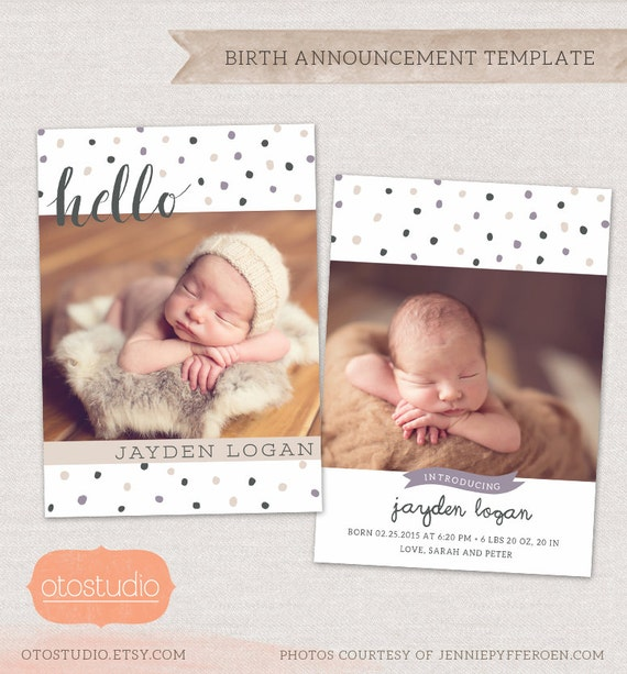 birth announcement card template for photographers hello. Black Bedroom Furniture Sets. Home Design Ideas