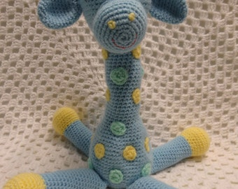 Giraffe, baby boy gift, baby shower gift, crocheted toy, boy gift