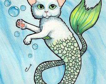 Mercat Catfish in Blue Water - Art Print - Watercolor Painting