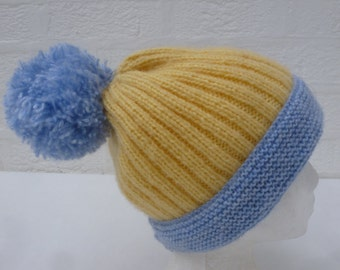 Hat womens knitted beanie wool hat winter accessories chunky beanie blue hat yellow chunky accessory winter beanie pom pom hat handmade blue