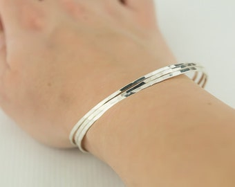 Solid Silver Set of 3 Bracelets, Sterling Silver Bangles, Silver Skinny Bangles, Silver Bangle Set, Stacking Bangles, Plain Silver Bracelets