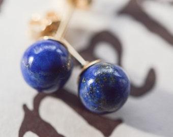 Lapis lazuli gemstone earrings.14k gold filled post earrings. Gemstone studs