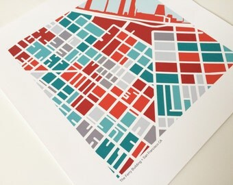 The Ferry Building San Francisco Map Print