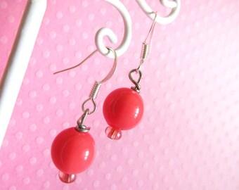 Pink Dangle Bead Earrings Kawaii Cute Earrings, Cute, Fairy Kei for Girls, Kids, Children