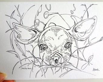 Little Deer Art Print, Aeris Osborne, Wildlife, Animal, Deer, Grass, Nursery, Wall Art, Ink Pen, Illustration, Drawing
