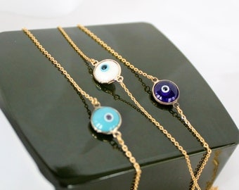 Turquoise Evil Eye Necklace, 3-D Tiny Evil Eye Necklace, Symbol Of Protection, Fast  Shipping