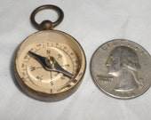 antique Mini german Compass fob germany working Vintage pendant deco beveled glass top dudes groom jewelry pocket watch chain fob CC31