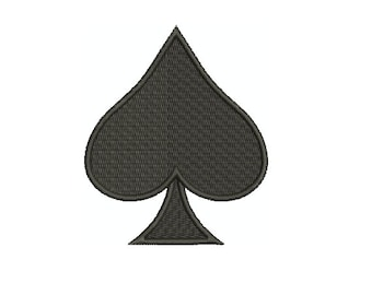 Machine Embroidery Design Instant Download - Spade 1 Playing Card Suit