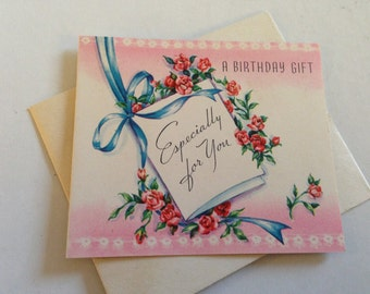 Vintage Birthday Greeting Card - Pink Floral Birthday Gift Enclosure - Mini Card Unused with Envelope - Vintage Greeting Card