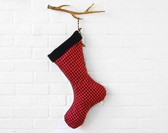 Red and Black Gingham, Velvet Christmas Stocking