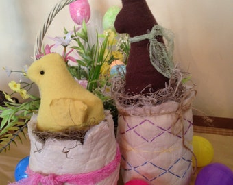 Primitive Easter Chick and Bunny in Cracked Eggs, Set of Two, Handmade Decorations