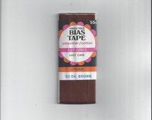 1970s Vintage Packaged Bias Tape, Single Fold in Dark Brown, 4 Yards, J. & P. Coats
