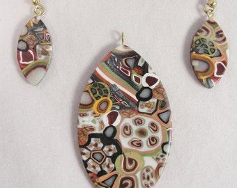 Vintage Handmade Necklace Pendant & Earrings Set Venetian Millefiori Design Marquis Oval