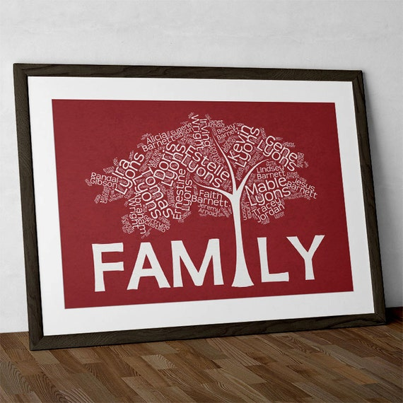 Modern family tree print personalized word art by for Modern family printer