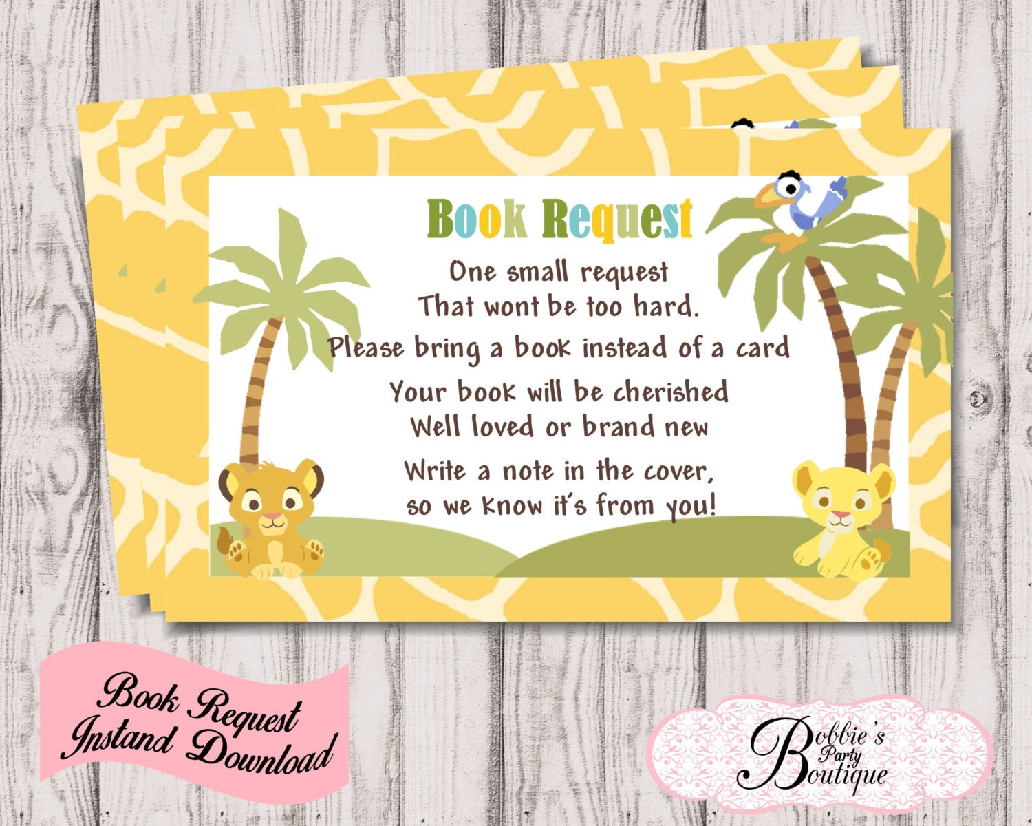 baby lion king book request baby shower digital download