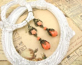 Vintage Style Coral Resin Rose Earrings - Swarovski Coral Pearl Teardrop Earrings Antique Brass Bronze Filigree Resin Rose Earrings