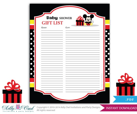 Boy Mickey Mouse Guest Gift List , Guest Sign In Sheet