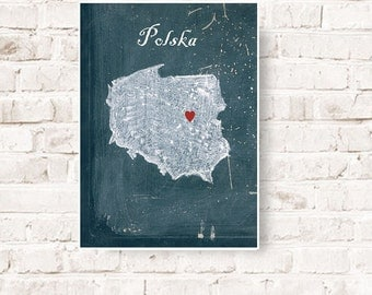 Customizable map of Poland, Home is where the heart is, Poland,  Polska, home decor Poland, shabby art Poland, Polish art, Poster