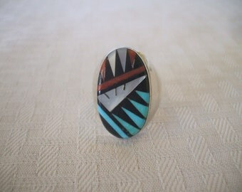 Signed Vintage ZUNI Sterling Silver & Turquoise Coral Jet INLAY RING, size 11.75