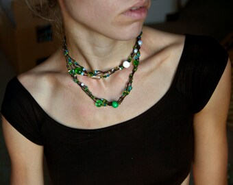 Green Bohemian Jewelry. Multistrand Long Necklace. Hippie Jewelry. Ethnic Necklace. Eco Friendly Jewelry, Christmas gift