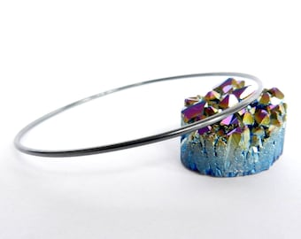 Sterling Silver Bangle Oxidized Polished Bracelet