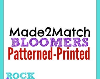 Made to Match Tutu Bloomers PRINTED | PATTERNED Design (cannot be purchased separately)