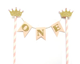 Pink & Gold Princess Birthday Cake Topper - First Birthday Cake Topper, 1st Birthday, Cake Bunting, birthday, baby shower, tea party