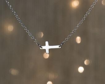 Tiny Sideways Cross Necklace  Dainty Necklace Sterling Silver Cross Necklace Layer necklace Everyday jewelry